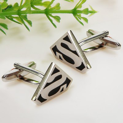 2pcs S Pattern Stainless Steel Cufflinks (Black and Silver)