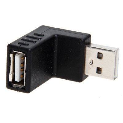 USB2.0 Male to Female 90 Degree Right Angle Bent Up Connector Convertor (Black)