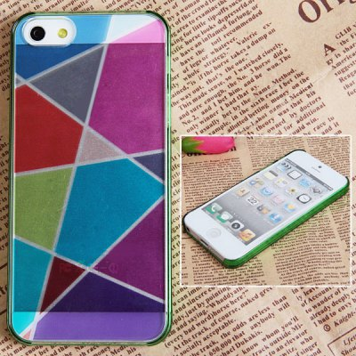 Fashion Colorful Bottom Geometric Drawing Bayer Material Protective Case Cover for iPhone 5 ( Green )