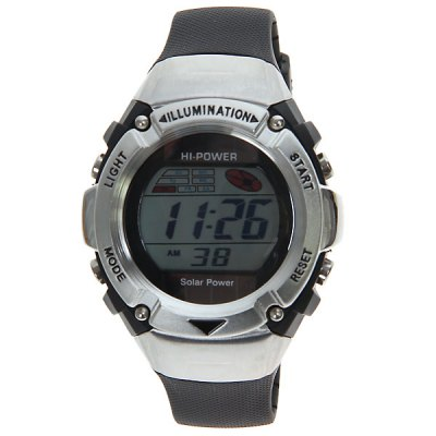 Solar Power Waterprood LED Sport Watch with Round Dial and Silicon BandSports Watches<br>Solar Power Waterprood LED Sport Watch with Round Dial and Silicon Band<br><br>People: Unisex table<br>Style: LED<br>Watches categories: Digital watch<br>Shape of the dial: Round<br>Movement type: Digital watch<br>Display type: Numbers<br>Band material: Rubber<br>Clasp type: Pin buckle<br>Special features: Calendar<br>The dial thickness: 1.8 cm<br>The dial diameter: 4.5 cm<br>Product weight: 0.056 kg<br>Package weight: 0.106 kg<br>Product size (L x W x H) : 26 x 4.5 x 1.8 cm<br>Package size (L x W x H): 27 x 5.5 x 2.8 cm<br>Package contents: 1 x Watch