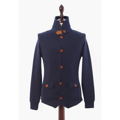 Stand Collar Tangy Red Buttons Polyester Men's Soft Jacket