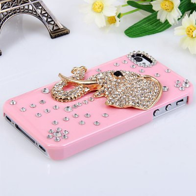 Shining Rhinestones 3D Elephant Design Plastic Hard Case Cover for iPhone 4 / 4S - Pink