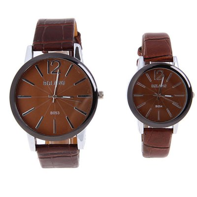 Гаджет   Bolang Quartz Watch with Number and Strips Indicate Round Dial with Leather Watch Band for Couple (Brown) Couple