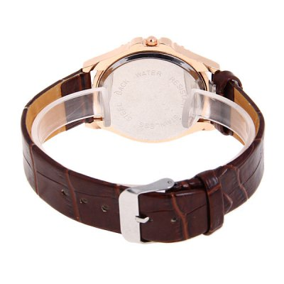 Bolang TuHao Golden Watch with Diamonds Round Dial and Leather Band