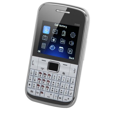 2.0 inch C322 Quad Band Dual SIM Cell Phone with QWERTY Keyboard Camera Analog TV QVGA Screen