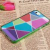 Fashion Colorful Bottom Geometric Drawing Bayer Material Protective Case Cover for iPhone 5 ( Green ) photo
