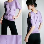 Korean Style Ladies XL Size Sports Suit Loose Clothes and Pants for Dancing and Yoga - Purple and Black photo