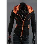 Buy Fashionable Double-Zipper Faux Twinset Color Splicing Hooded Coat Men 2XL