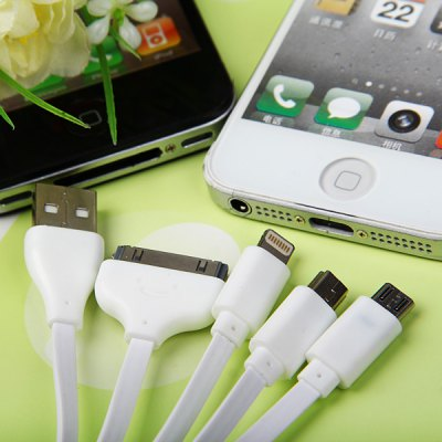5 - in - 1 Noodle Design  8 - Pin / 30 - Pin / Micro / Mini USB Charging Cable for iPhone 5 / 4 / 4S , Samsung , HTC , etciPhone Cables &amp; Adapters<br>5 - in - 1 Noodle Design  8 - Pin / 30 - Pin / Micro / Mini USB Charging Cable for iPhone 5 / 4 / 4S , Samsung , HTC , etc<br><br>Compatibility: iPhone 5C, iPad Mini, iPhone 5S, Samsung, iPhone 4, HTC, iPhone 4S, Nokia, iPhone 5, Blackberry, iPad 4<br>Type: Cable<br>Interface type: Mini 5 pin, 30 pin, 8 pin, Micro 5 pin<br>Cable length (cm)  : 10 cm<br>Package weight : 0.05 kg<br>Package size (L x W x H) : 11 x 11 x 1 cm<br>Package Contents: 1 x 5 in 1 USB Cable