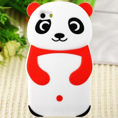Popular Panda Shape Soft Silicone Case Cover for iPhone 5 - Black
