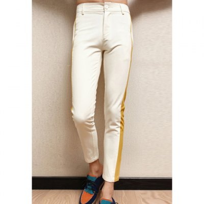 New Style Candy Color Splicing Design Fitting Nine-Minute Pants For Men