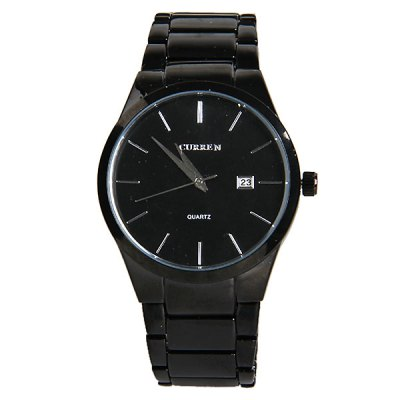 Curren Tungsten Steel Watch with Calendar Round Dial and Steel Band