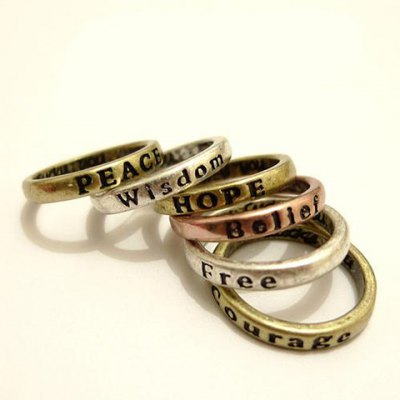 8Pcs Letter Carved Wishing Rings