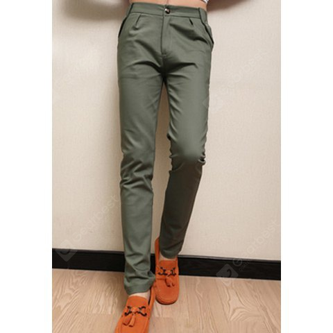Buy Fashionable Style Fitting Narrow Feet Solid Color Casual Pants Men S GREEN