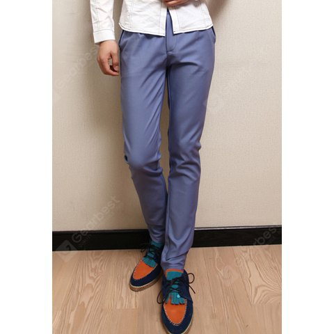 Buy Fashionable Style Fitting Narrow Feet Solid Color Casual Pants Men S LIGHT BLUE