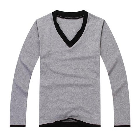 Buy Fashion V-Neck Long Sleeves Basic Style Color Match Cotton Blend Men's T-Shirt 2XL GRAY