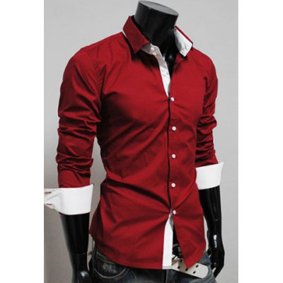 Color Splicing Long Sleeve Spring Shirt