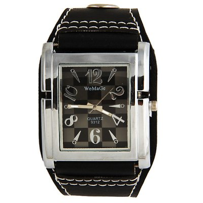 WoMaGe Unisex Watch Square Dial Leather Watchband