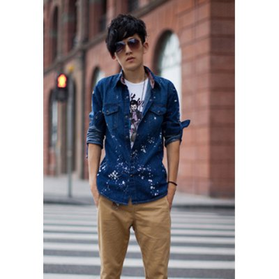 Casual VertexPaint Printing Chic Clipping Polyester Men's Shirt