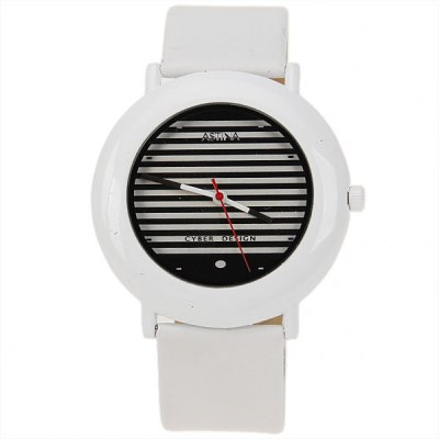 Гаджет   Cheap Couple Watch with Strips Patterned Design Round Dial and Leather Band Watches