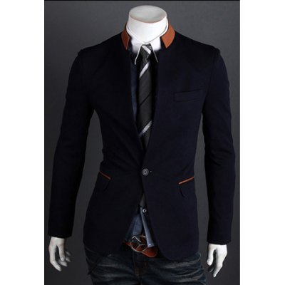 Spring New Arrival One-Button Stand Collar Color Block Casual Blazer