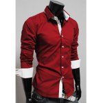 Hot Sale New Style Color Splicing Long Sleeve Spring Shirt For Men