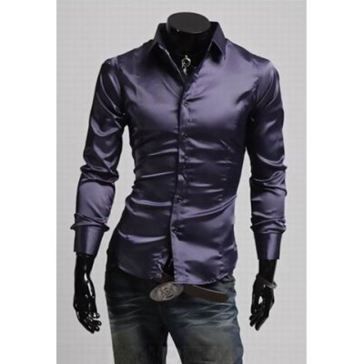 Fashion Style Faille Long Sleeve Fitting Solid Color Shirt For Men