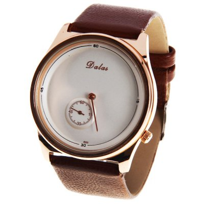 Dalas Unisex Watch with Round Dial Leather Watchband