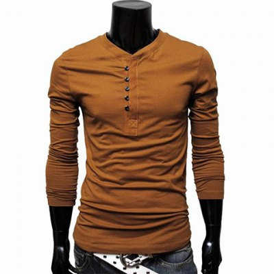 Solid Color Fitting Single Breasted Round Collar Long Sleeve T-Shirt For Men