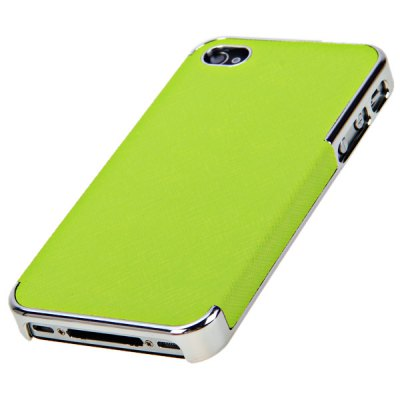 Fashion Style PU Leather + Plastic Shell Case for iPhone 4