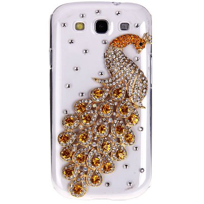 3D Peacock Diamonds Plastic Clear Case for Samsung i9300
