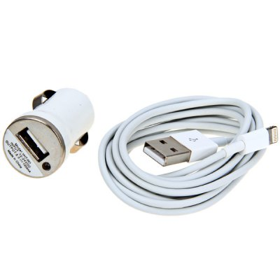 Cool Design Car Charger + 2M 8 Pin Cable for iPhone 5 / 5S / 5C