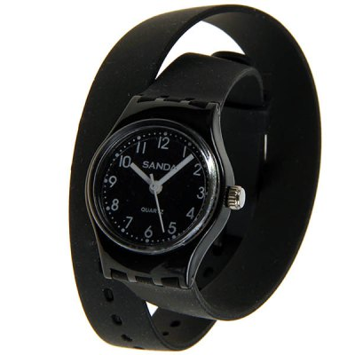 Sanda Wrist Watches with Numbers Indicate Round Dial Silicon Watchband for Children - Black
