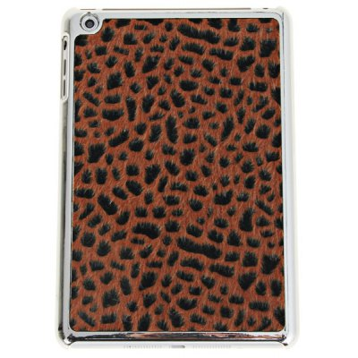 Leopard Print and Fluff Electroplating Plastic Case for iPad Mini