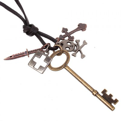 Hot Sale Style Multielement Cross and Key Shape Pendant Embellished Necklace For MenHot Sale Style Multielement Cross and Key Shape Pendant Embellished Necklace For Men<br>