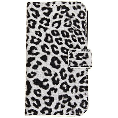 Leopard Print Pattern Plastic and Leather Case with Card Slot for Samsung Galaxy S4 i9500 / i9505
