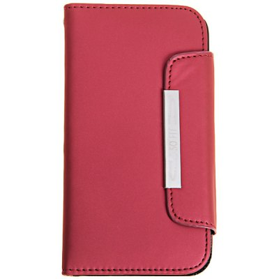 Plastic and Frosted Leather Case with Magnetic Buckle and Hand Strap for Samsung Galaxy S4 i9500 / i9505 - Red
