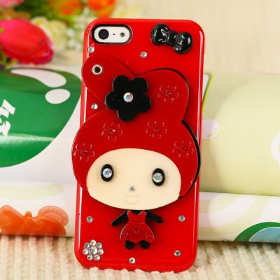 Cool Cartoon Style Diamonds Clear Plastic Shell Case for iPhone 5 with Mirror