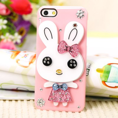 Cool Rabbit Style Diamonds Plastic Shell Case for iPhone 5 with Mirror