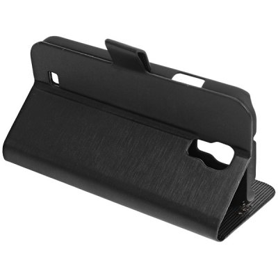 Wiredrawing Design Plastic and Leather Case with Magnetic Buckle for Samsung Galaxy S4 i9500 / i9505 - Black