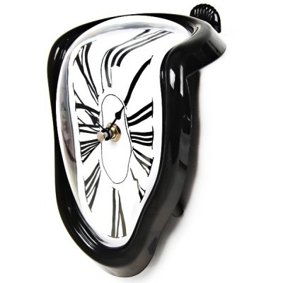 Small Novel 90 Degree Twisted Clock Hanging Clock with Roman Numerals - Black