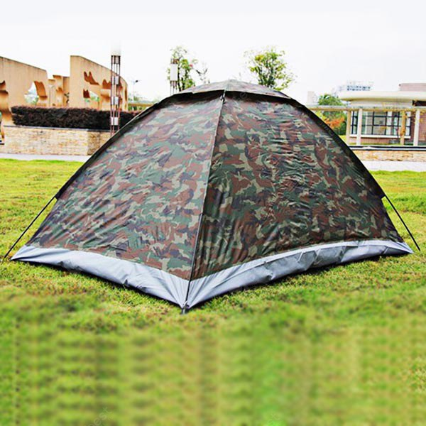 High Quality Portable Silver Coated Dome 2 Person Camping Tent - Camouflage