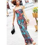Bohemian Flounce Edge Floral Print Halterneck Sleeveless Cotton Blend Women's Maxi Dress