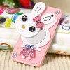 Cool Rabbit Style Diamonds Plastic Shell Case for iPhone 5 with Mirror for sale