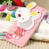 Unique Rabbit Style Rhinestones Clear Plastic Shell Case for iPhone 5 with Mirror deal
