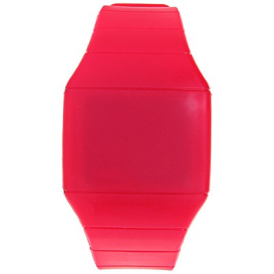 Touch Screen Red LED Watch with Rectangle Dial and Silicon Band