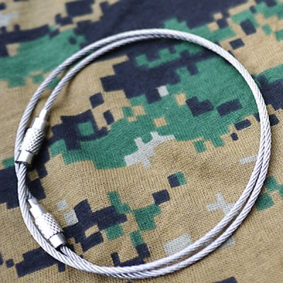 15cm Stainless Steel Cable Wire Key Ring Multi-function Keychain Outdoor Camping Accessories - Silver