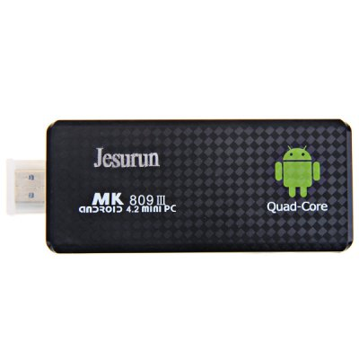 MK809III Built - in 3D Accelerator Little Google Android 4.2 TV Box/Mini PC Quad Core 2G RAM 8G ROMTV Box &amp; Mini PC<br>MK809III Built - in 3D Accelerator Little Google Android 4.2 TV Box/Mini PC Quad Core 2G RAM 8G ROM<br><br>Type: Mini PC<br>Model: MK809III<br>Color: Black<br>System: Android 4.2<br>GPU: Mali-400<br>CPU: RK3188<br>Core: Quad Core<br>CPU(Central Processing Unit): Quad Core RK3188 Cortex A9<br>RAM: 2G<br>ROM: 8G<br>WiFi: IEEE 802.11 b/g/n<br>Bluetooth: Support<br>Power Supply: Charge Adapter<br>Interface: Micro USB, TF Card, DC 5V, USB2.0<br>Antenna: Yes<br>Other Features: Support 3D gaming, Support external 3G, Supports 1080P<br>Product Weight: 0.035 kg<br>Package Weight: 0.300 kg<br>Product Size (L x W x H): 10.0 x 4.0 x 1.0 cm<br>Package Size (L x W x H): 20.0 x 15.0 x 5.0 cm<br>Package Contents: 1 x Android 4.2 Mini PC, 1 x Power Adapter, 1 x USB Cable, 1 x HDMI Cable, 1 x HDMI-Micro USB Cable, 1 x English Users Manual