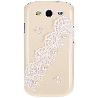Artificial Pearl and Lace Plastic Case for Samsung Galaxy S3 i9300