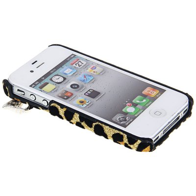 Гаджет   Fashion Butterfly and Leopard Design Artificial Pearl Plastic Hard Shell Case for iPhone 4 / 4S iPhone Cases/Covers